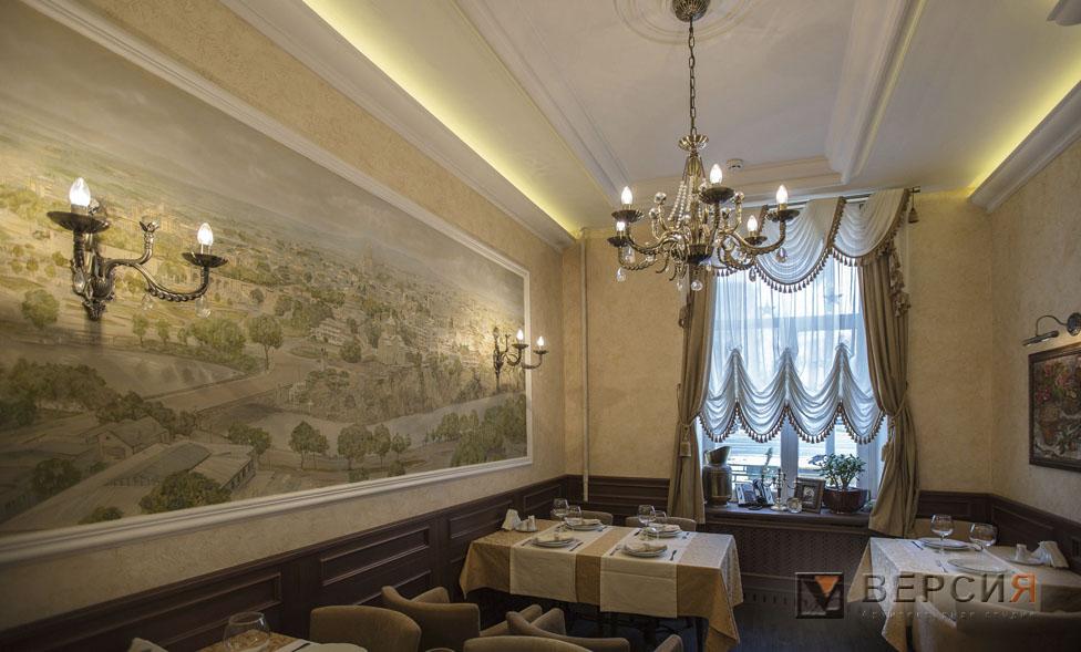 интерьер ресторана с росписью