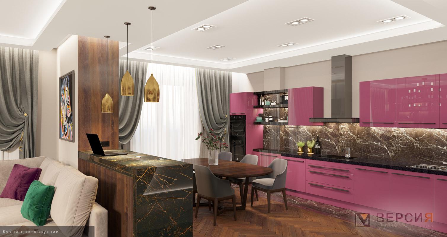 кухня в современном стиле цвета фуксия