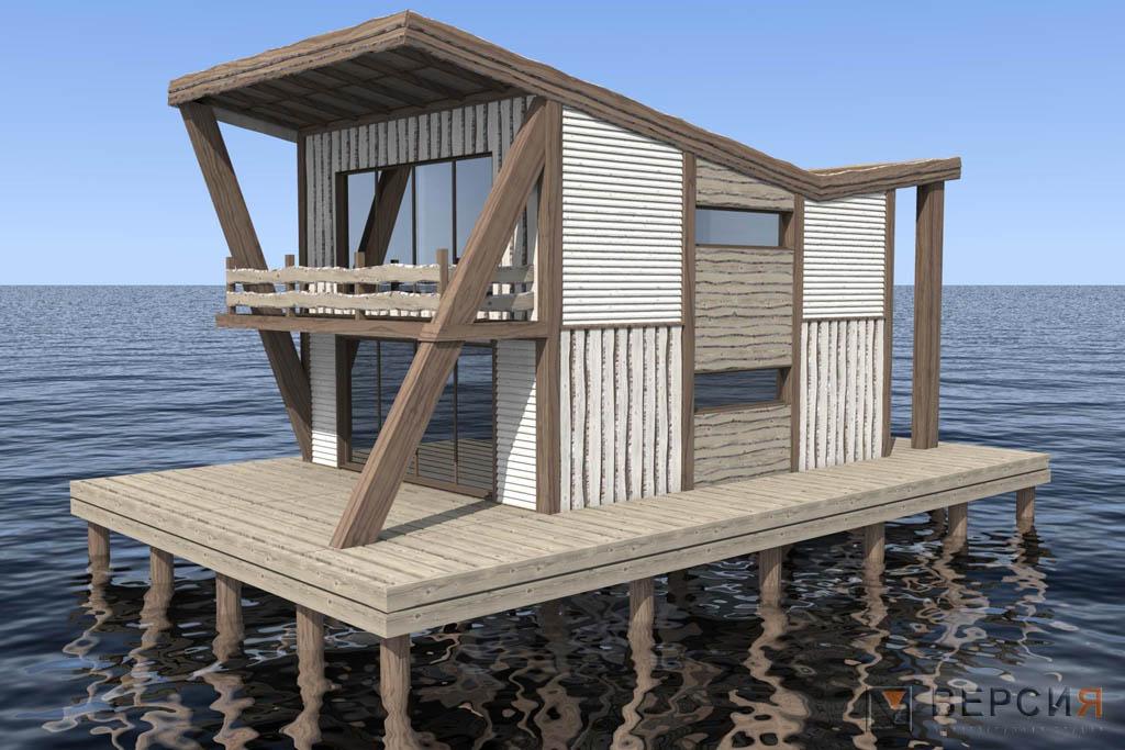 деревянный домик на воде