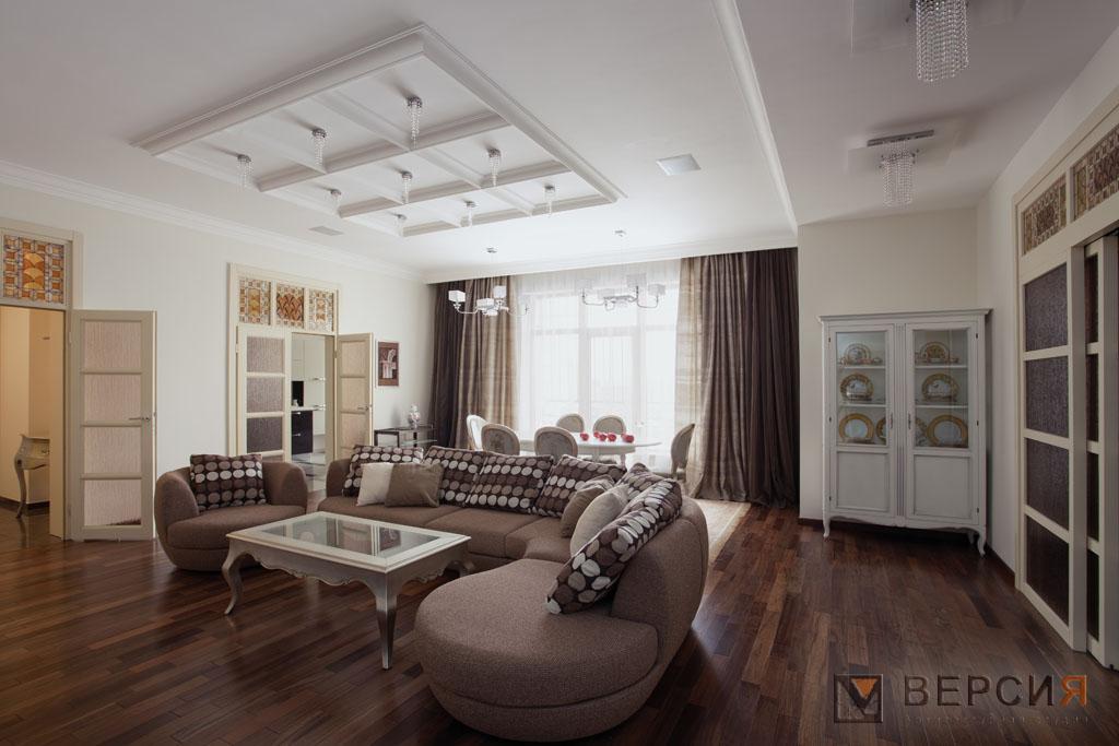дизайн гостиной в неоклассике