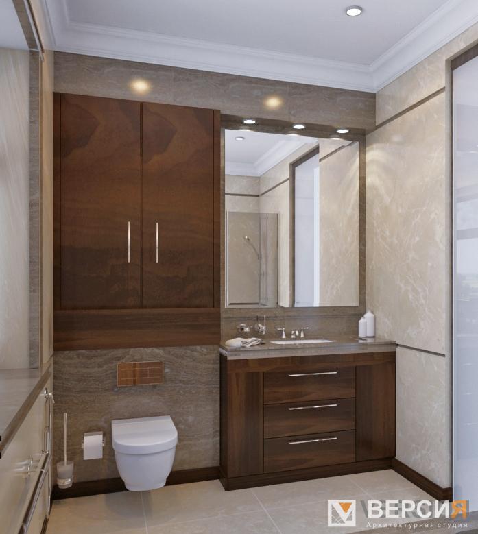 Ванная с мраморным панно
