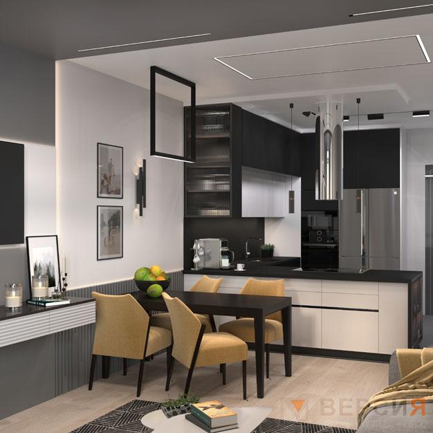 Гостиная-кухня интерьер